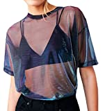 Farktop Women's Sexy Metallic Shimmer Mesh Tee Short Sleeve See Through Mesh Blouse Tops Tee Shirt,Blue,X-Large