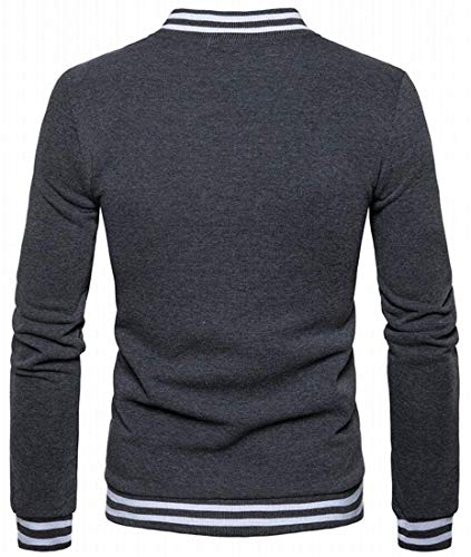 Grey Hommes Vestes Manches Taille Pour Kangqi De Small Longues À couleur Vêtements Baseball Dark FEHRwSPq
