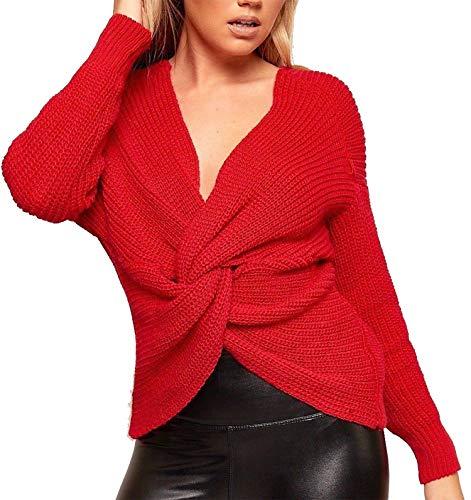 Con A Da V Scollo Donna Incrociato Red Maglione Profondo EZP6UqU