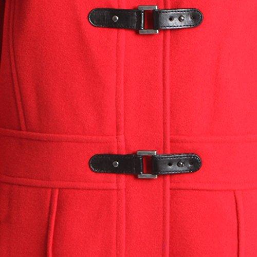 Deporte de invierno para mujer traje de neopreno para mujer abrigo de lana chaqueta de hípica para niños Plus tamaños de palanca con capucha Red with Faux Fur Trim Hood /Buckle Fastening