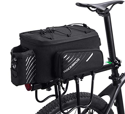 - ROCK BROS Bike Trunk Bag Bicycle Rack Rear Carrier Bag Commuter Bike Luggage Bag Pannier with Rain Cover