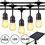 Fule 【48FT2】 Solar Outdoor String Lights,Heavy Duty S14 LED String Light 48FT,15 Hanging Sockets,1W Plastic Vantage Bulbs,Create Ambiance for Backyard Party Decoration/Cafe/Garden/Patio