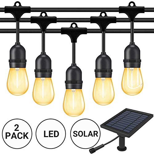 Fule Solar Outdoor String Lights,Heavy Duty S14 LED String Light 48FT,15 Hanging Sockets,1W Plastic Vantage Bulbs,Create Ambiance for Backyard Party Decoration/Cafe/Garden/Patio by Fule (Image #1)