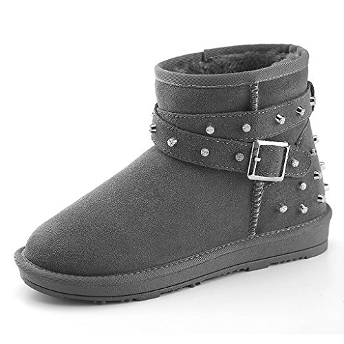 Women 's winter snow boots rivets buckle boots leather students short boots trend shoes ( Color : Gray , Size : US:6.5\UK:5.5\EUR:38 )