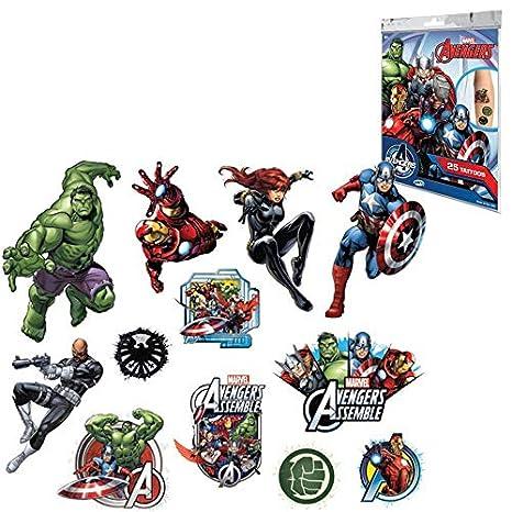 Marvel 1573 Avengers - Tatuajes (tamaño pequeño), multicolor ...