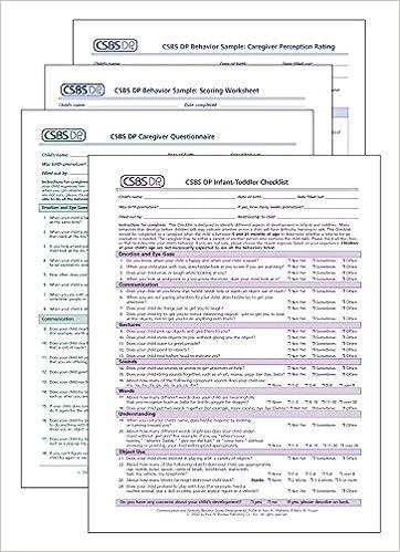 Buy Csbs Dp Tm Record Forms Communication And Symbolic Behavior