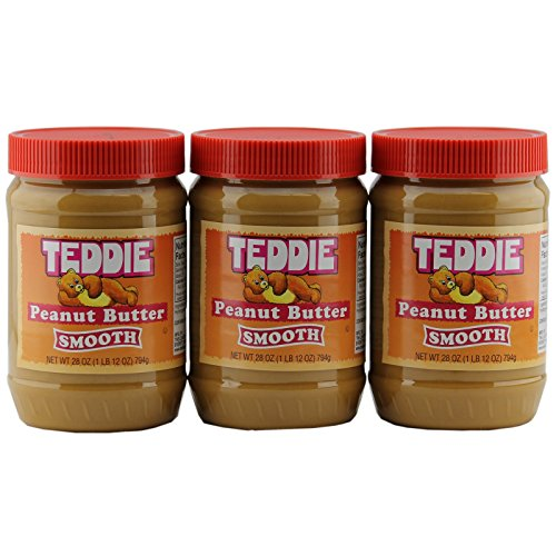 Teddie Peanut Butter, Creamy 28 Ounce Jar (Pack of 3)