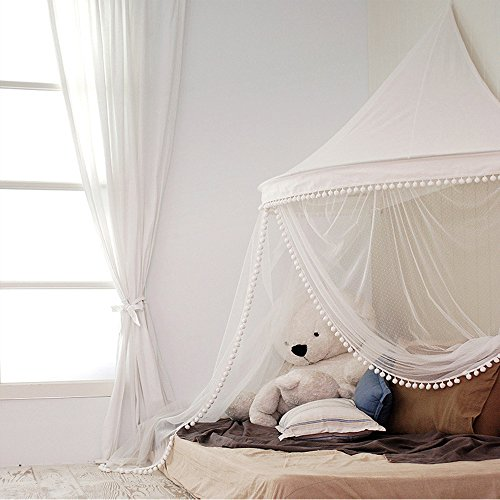 HAN-MM Hanging Bed Canopy Princess Play Tent and Bed Canopy Round Hoop Netting Mosquito Net Bedroom Decor Beige with Sheer