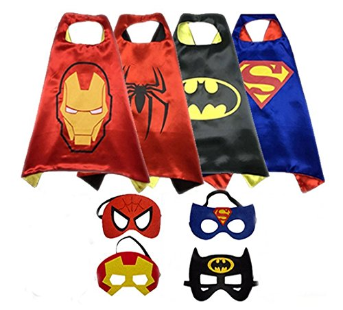 [Cosplay Superhero Dress Up Costumes Mask Kids SET- Capes toys Masks Childrens Halloween] (Iron Man Shirt And Mask Costumes)