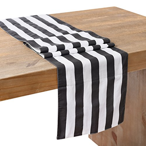 Ling's moment Classic 1 Inch Black and White Striped Table Runner, 12 x 72 Inches, 100% Cotton Machine Washable Colorfast (6' Round China)