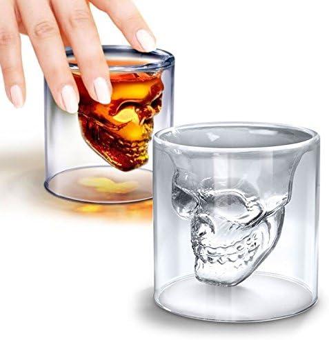 Shop Story – Juego de 4 vasos con forma calavera – Chupito para licor, Whisky, Vodka, etc.