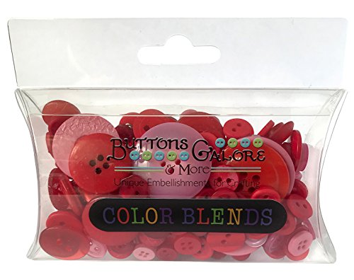 Botones Galore CB109 color Botones Blend, 3 onzas, Cerezas Jubilee, 3 tonos de rojo