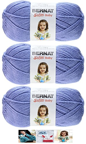 Bernat Softee Baby Acrylic Yarn 3 Pack Bundle Includes 3 Patterns DK Light Worsted - Pattern Dk