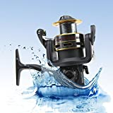 Cheap RUNATURE Spinning Fishing Reels Large Saltwater Spinning Reels, 7+1 BB, 17.64 Lb Carbon Fiber Drag