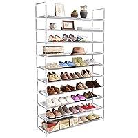 Tangkula Shoe Rack, 10-Tier 50 Pair Adjustable Free Standing Space Saving Utility Storage Organizer, Unit Entryway Hallway Shelf Shoe Tower