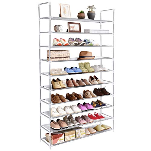 (Tangkula Shoe Rack, 10-Tier 50 Pair Adjustable Free Standing Space Saving Utility Storage Organizer, Unit Entryway Hallway Shelf Shoe Tower)