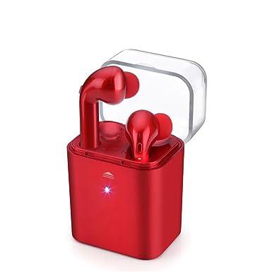 fun7 double-ear auricular inalámbrico de auriculares Bluetooth portátil deporte auriculares rojo para iPhone Airpods