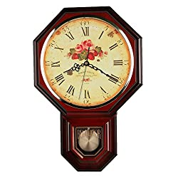 Vintage Rose Classic Traditional Schoolhouse Pendulum Wall Clock Chimes Every Hour With Westminster Melody Made in Taiwan, 4AA Batteries Included (PP0258-1F Red Mahogany)