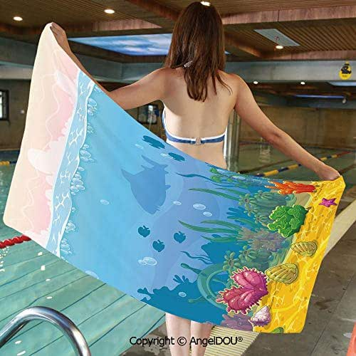 AngelDOU Large Gym Sport Swimming Pool Towel Rich Under The Sea Landscape Fish Silhouettes Colorful Exotic Plants and Shells Decorative Microfiber Beach Towel Women Men.W13.7xL27.5(inch)
