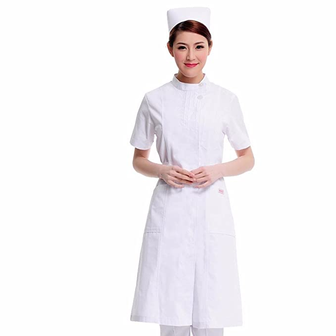 Xuanku Enfermera Farmacia Salón De Belleza Productos Belleza Ropa De Manga Corta Collar De Bata Blanca Aguja Pellizcado Ropa De Trabajo, XXL, ...