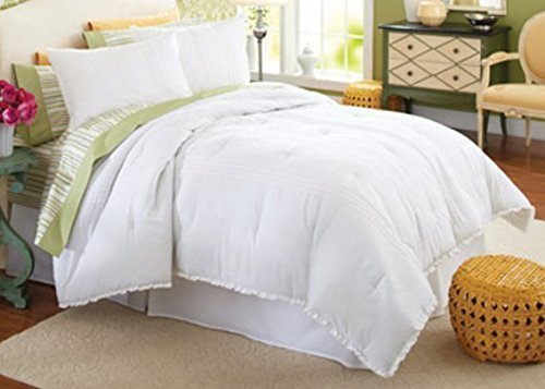 Dovedote Vintage Antique Country Comforter Set, Light Weight & Bright White, Full, 4 Piece