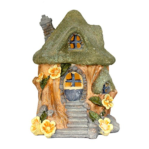 (Gift Craft LED Lighted Fairy Garden House Gnome Home Woodland Cottage 8.5