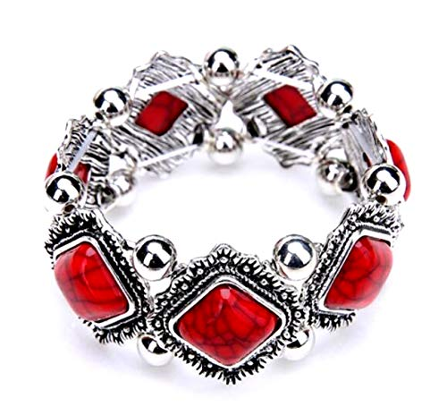 Global Huntress Antique Silver Natural Red Turquoise Diamond Shaped Stretch Cuff Embellished Bracelet (Bangle Bracelet Diamond Studded)
