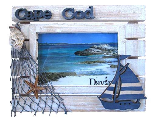 Massachusetts Maps Cape Cod Photo Frame (Wooden - Sailboat, Fishing Net, Sea Shell) ()