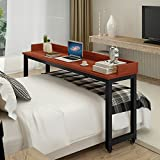 Overbed Table with Wheels, Tribesigns Mobile Desk with Heavy-Duty Metal Legs & Large Work Surface Works as Computer Desk or Nursing Table, for Home and Hospital Use (Teak)