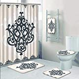 AmaPark 5-Piece Bathroom Set-Includes Shower Curtain Liner, Bathroom Rugs and Bath Towel,Eastern Islamic Motif with Arabic Effects Filigree Swirled Artsy Print Pearl Grey Decorate The Bath