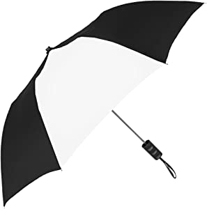 StrombergBrand Spectrum Popular Style Automatic Open Close Small Light Weight Portable Compact Tiny Mini Travel Folding Umbrella for Men and Women, Black/White