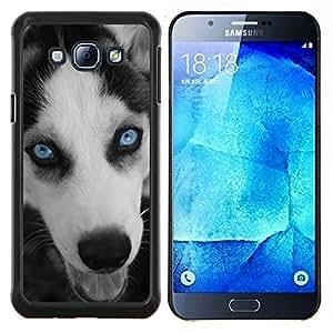 EJOOY---Cubierta de la caja de protección para la piel dura ** Samsung Galaxy A8 A8000 ** --Husky de ojos Azul Cara Bozal perro