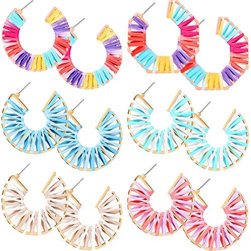 6 Pairs Geometric Hoop Earrings Raffia Octagon Earrings Colorful Hoop Earrings for Women and Girls