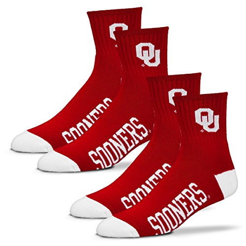 For Bare Feet Men's Quarter Socks-Oklahoma Sooners-Large-Crimson-2 Pack ()
