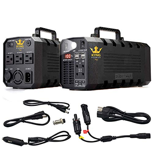 Kyng Power Solar Generator Portable Power Station UPS Battery 500w Continuous 1000w Peak Emergency Generator Rechargeable Inverter with 110V/500W 3 AC Outlet, 12V Car 4 USB Free Solar Panel ()