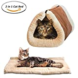 Dr Nezix 2 in 1 Tube Cat Mat and Bed, Cat Sleeping Bag Self-Warming Kitty Sack Beige, Pet Accessories