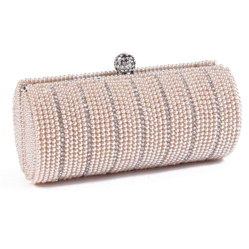Damara Womens Special Columnar Pearl Evening Bag Chic Beads Clutch Purse,Champagne