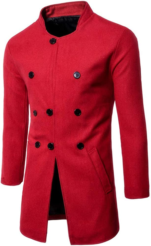 aliveGOT Men Winter Wool Trench Coat Quality Business Top Coat Slim Fit Overcoat