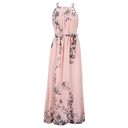 aa405fe3211f Amazon.com: Summer Vintage Floral Printed Bohemian Sleeveless Dress Floor  Length Belted Lace Up Pleated Chiffon Beach Sundress S-6XL Womens Plus Size:  ...