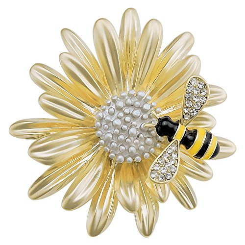 EONFINE Unique Crystal Bees Gather Nectar Daisy Flower Art Deco Brooch Pins For Party Prom Golden Tone