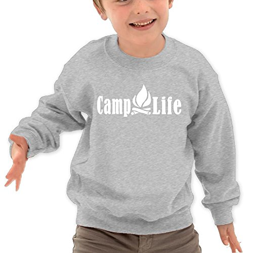 Puppylol Camping Life Kids Classic Crew Neck Pullover Hoodie Ash 2 Toddler