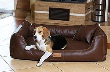 Cama Sofá Ortopédico para Perros Maddox Ortho Visco por tierlando - Cuero Sintético Tamaño XL 120cm Marrón: Amazon.es: Productos para mascotas