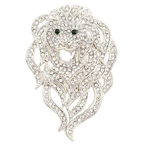 EVER FAITH Austrian Crystal Gorgeous Animal Lion Head Brooch Clear Silver-Tone ()