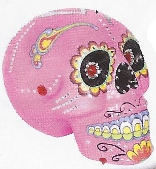 Fancy Day of the Dead Decorated and Painted Sugar Skulls with Bling (Pink)