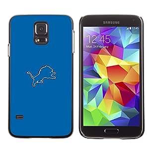 KLONGSHOP // Cubierta de piel con cierre a presión Shell trasero duro de goma Protección Caso - Tigre Azul - Samsung Galaxy S5 //