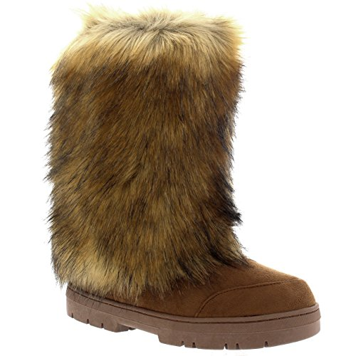 Agrifoglio Donna Eskimo Grande Pelliccia Di Coniglio Coperto Di Pelliccia Invernale Foderato Lungo Stivali Invernali Chiaro Tan