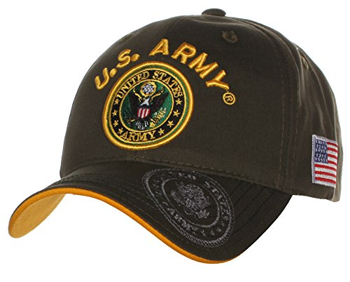 US Army Official License Structured Front Side Back and Visor Embroidered Hat Cap - U.S Army Olive Gold