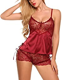 Women Sexy Lingerie Strap V-Neck Lace Nightwear Satin Sleepwear Sets