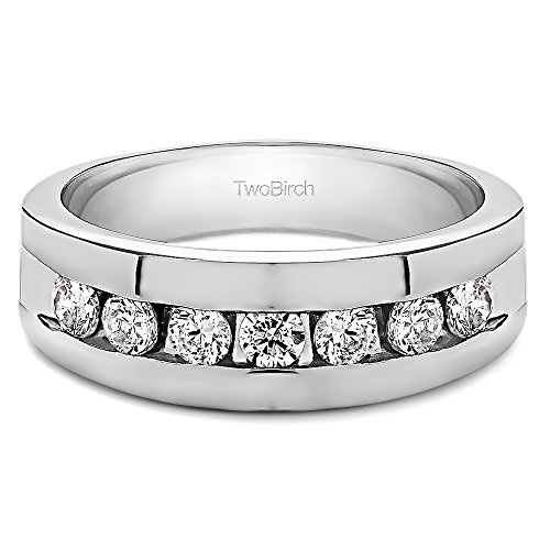 - 14k White Gold Unique Men's Ring Forever Brilliant Moissanite(0.24Ct) Size 3 To 15 in 1/4 Size Intervals