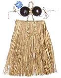 Hawaiian Grass Skirt Set Coconut Bra Top Natural Adult
